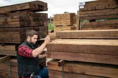 De arbeider van de timmerhoutwerf, timmerman bij houten werf telt inventaris met mobiel apparaat royalty-vrije stock afbeelding