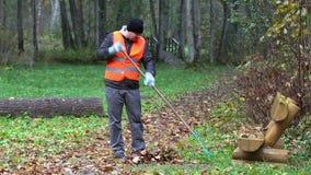 De arbeider verzamelt bladeren met een hark stock videobeelden