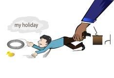 De arbeider wil zijn vakantie Stock Afbeeldingen