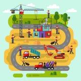 De arbeiders bouwen een huis Stock Afbeeldingen