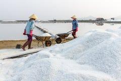 De arbeiders duwen kruiwagens bij de zoute gebieden van Hon Khoi in Nha Tra Stock Foto