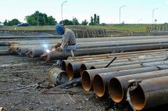 De arbeiders lassen staal Royalty-vrije Stock Foto