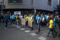 De arbeiders protesteren in Barcelona Royalty-vrije Stock Foto's