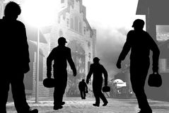 De arbeiders silhouetteren Stock Foto