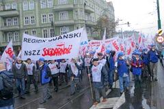 De arbeiders slaan in Polen stock foto