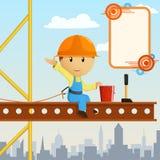De arbeiders steeplejack groet van de bouwer op hoogte. stock illustratie