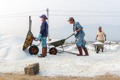De arbeiders stellen bij de zoute gebieden van Hon Khoi in Nha Trang, Vietna op Stock Foto's