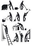 De arbeiders van het onderhoud in zwarte Stock Afbeelding
