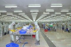 De arbeiders werken in een installatie van de zeevruchtenverwerking in Tien Giang, een provincie in de Mekong delta van Vietnam Stock Foto