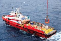 De arbeiders worden opgeheven door de kraan aan het zeeplatform, Overdrachtbemanningen door persoonlijke mand van het platform aa Stock Foto's