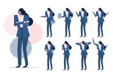De arbeidersvrouw met Blauw kostuum op velen stelt Stock Foto's