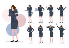 De arbeidersvrouw met grijs kostuum op velen stelt vector illustratie
