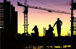 De arbeiderszonsondergang van het silhouet Stock Afbeeldingen