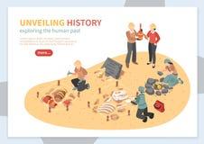 De archeologische Banner van het Exploratie Isometrische Concept royalty-vrije illustratie