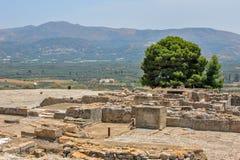 De archeologische plaats van het Phaistospaleis op Kreta Stock Afbeeldingen
