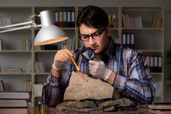 De archeoloog die laat - nacht in bureau werken royalty-vrije stock afbeelding