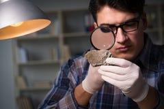 De archeoloog die laat - nacht in bureau werken stock foto