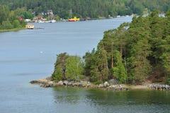De archipel van Stockholm, grootste archipel in Zweden, en second-largest archipel in Oostzee De ZOMERlandschap royalty-vrije stock foto