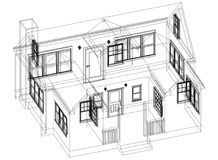 De Architect geïsoleerd Blueprint van het huisontwerp - stock illustratie