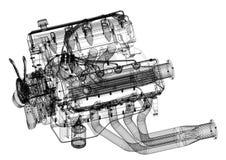 De Architect geïsoleerd Blueprint van het motor van een autoontwerp - royalty-vrije illustratie