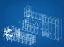 De Architectenblauwdruk van het keukenplan stock foto's