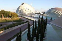 De architecturale complexe Stad van Valencia van Kunsten en Wetenschappen Stock Fotografie