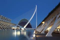 De architecturale complexe Stad van Valencia van Kunsten en Wetenschappen Stock Foto