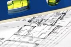De architecturale plannen van het huis stock fotografie