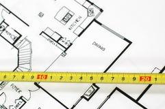 De architecturale plannen van het huis stock foto