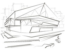 De architecturale schets moderne bouw op stadsachtergrond Stock Foto's