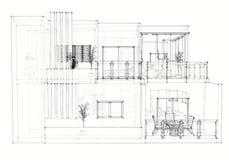 De architecturale tekening van het huis