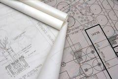 De architecturale tekeningen van het landschap stock foto's