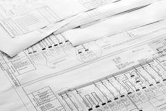 De architecturale Tekeningen van het Plan Royalty-vrije Stock Foto's