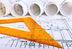 De architecturale werkplaats van de projectarchitect stock afbeeldingen