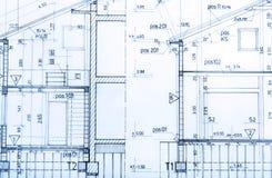 De architectuur rolt de architecturale architect van het plannenproject stock afbeeldingen