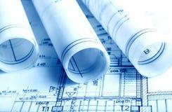 De architectuur rolt de architecturale architect van het plannenproject Stock Foto
