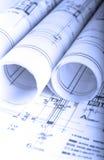 De architectuur rolt de architecturale techical blauwdrukken van de plannenarchitect Royalty-vrije Stock Afbeeldingen