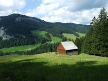 De architectuur van alpen en landbouwbedrijven van het Obertoggenburg-gebied royalty-vrije stock afbeeldingen