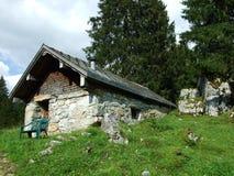 De architectuur van alpen en landbouwbedrijven van het Obertoggenburg-gebied royalty-vrije stock fotografie