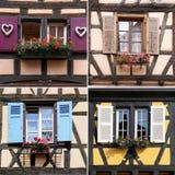De architectuur van de Elzas: vensters, collage Stock Fotografie
