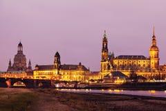 De architectuur van Dresden over Elbe Rivier Dresden, Saksen, Duitsland Stock Afbeeldingen