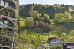 De Architectuur van Eco De groene wolkenkrabberbouw met installaties die op facad groeien Stock Afbeeldingen