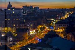 De Architectuur van het de Stadscentrum van Nottingham bij zonsondergang Stock Foto's