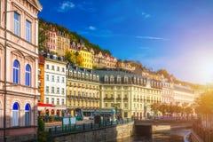 De architectuur van Karlovy varieert Karlsbad, Tsjechische Republiek Het is t Stock Fotografie