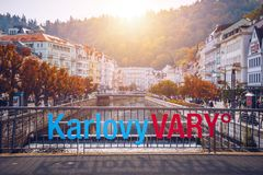 De architectuur van Karlovy varieert Karlsbad, Tsjechische Republiek Het is t Royalty-vrije Stock Fotografie
