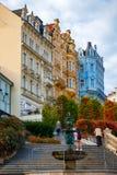 De architectuur van Karlovy varieert Karlsbad, Tsjechische Republiek Het is t Stock Foto