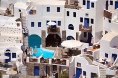 De architectuur van Santorini. Stock Foto's