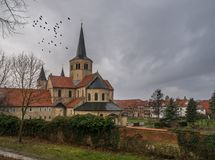 De architectuur van stad Hildesheim, Duitsland stock foto's