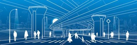 De architectuur van de stad Infrastructuurillustratie, vervoerviaduct, grote brug, stedelijke scène Busbeweging Mensen die bij st vector illustratie