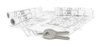 De architectuurblauwdrukken met twee huisvesten sleutels Royalty-vrije Stock Foto's